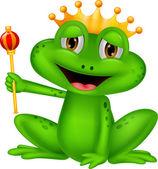 Happy frog king cartoon — Stock Vector