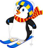 Penguin cartoon skiing — Stock Vector