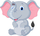 Cute baby elephant cartoon — Stock Vector
