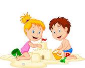 Children making sand castle — Stock Vector