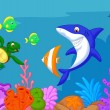 Sea life cartoon — Stock Vector