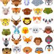 Cartoon animal head collection set — Stock Vector #42241449