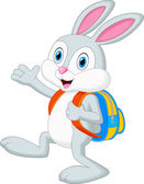 Rabbit cartoon with backpack — Vector de stock