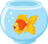 Golden fish in aquarium — Vector de stock