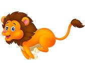 Cute lion cartoon running — Stock Vector