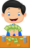 Cartoon boy counting the money — Stock Vector