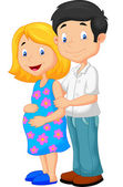 Young couple expecting a baby — Stock Vector