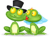 Married frog kissing — Stock Vector
