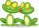 Frog kissing — Stock Vector