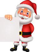 Cute santa holding blank paper — Stock Vector