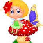 Baby fairy elf sitting on mushroom — Stock Vector