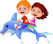 Boy and girl riding a dolphin — Stock Vector
