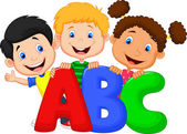 School kids with ABC letters — Stock Vector