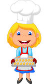 Little girl making cookies — Stock Vector