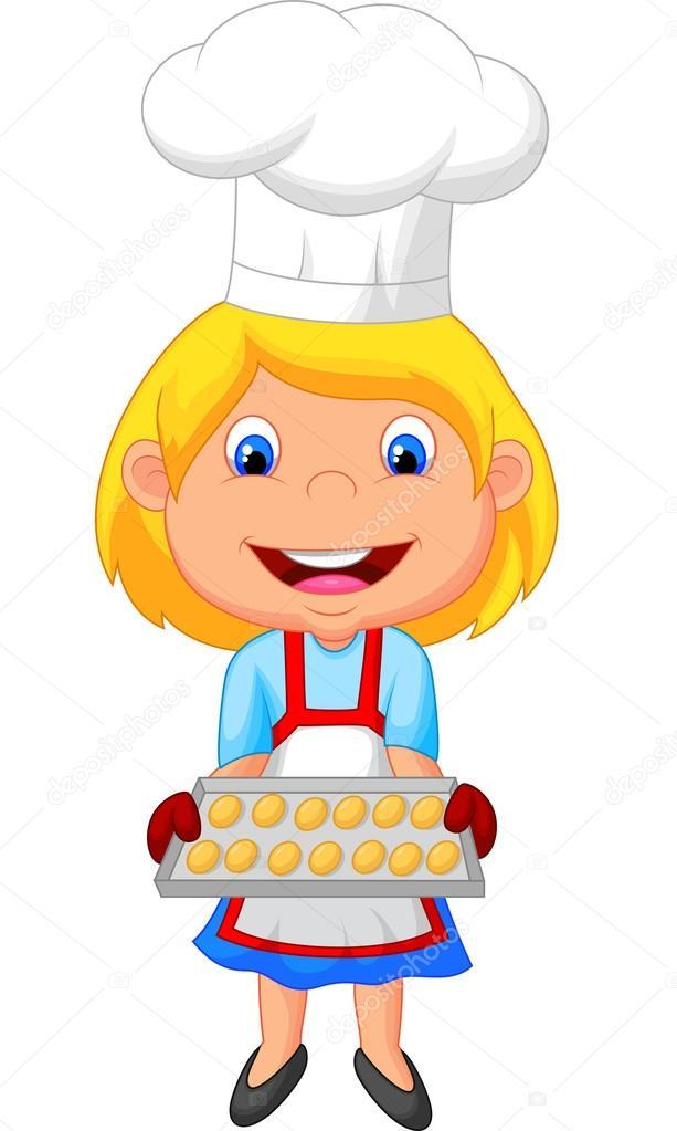 Ni a haciendo galletas vector de stock tigatelu 42373671 - Nina cocinando ...