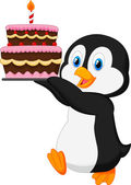 Penguin holding a cake — Stock Vector