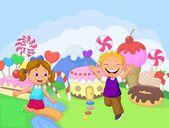 дети на земле сладкая фантазия — Cтоковый вектор