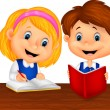 Boy and girl study together — Stockvektor  #44728039