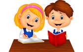 Estudo de menino e menina juntos — Vetor de Stock