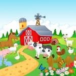 Farm with animals — Stock Vector #44735927