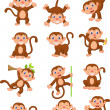 Monkey cartoon set — Stock Vector #44738579