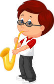 Boy playing on saxophone — Stock Vector