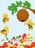 Beehive and a bees — Stock Vector