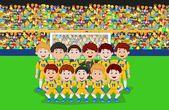 Fotboll team cartoon — Stockvektor