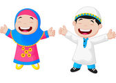 Happy Muslim kids — Stock Vector
