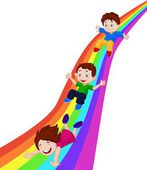 Kids on Rainbow — Stock Vector