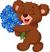 Bear holding a bouquet — Stock Vector