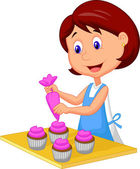 Decorating cupcakes — Stock Vector
