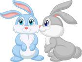 Rabbits kissing — Stock Vector