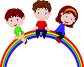 Children on rainbow — Stock Vector