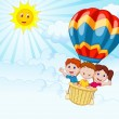 Happy kids riding a hot air balloon — Stock Vector #49593363