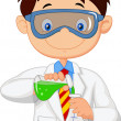Boy doing chemical experiment — Stock Vector #49599273