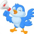 Cartoon bluebird with megaphone — Vector de stock
