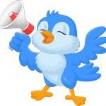 Cartoon bluebird with megaphone — Stockvektor