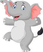 Happy cartoon elephant — Vector de stock
