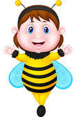 Little girl dressed as bee — Stock Vector