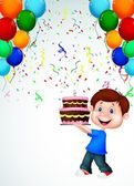 Boy with birthday cake — Stock Vector