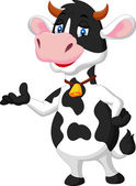 Cute cow cartoon presenting — Stock vektor
