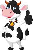 Cute cow cartoon giving thumb up — Vector de stock