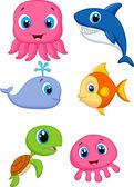 Cute cartoon sea animals — Stock Vector