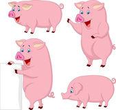 Cartoon fat pig collection — Stock vektor