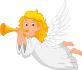 Cartoon angel with trumpet — Vector de stock