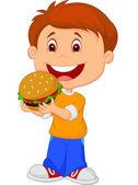 Boy eating burger — Stock Vector