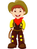 Cute young cowboy holding lasso — Stock Vector