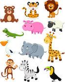 Wild animal cartoon collection set — Stock Vector