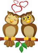 Cute couple cartoon owl in love — Stockvektor